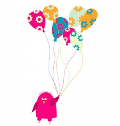 bird with balloons vector image vector image