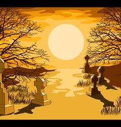 Cemetery landscape vector image