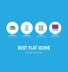 flat icon frame set of curtain clean flowerpot vector image vector image