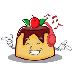 Listening music pudding character cartoon style vector