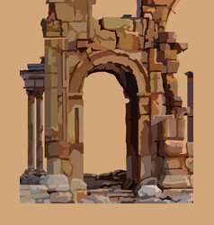 Painted dilapidated stone arch of ancient ruins vector