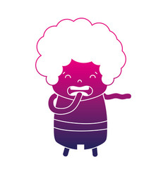 Silhouette boy with curly hair and disgusted face vector