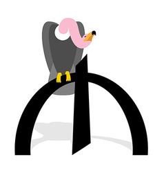 Vultures and Azerbaijani manat Griffon and sign of vector image vector image