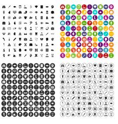 100 medical anatomy icons set variant vector