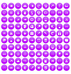 100 oceanology icons set purple vector