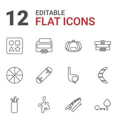 12 recreation icons vector