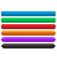6 color button banner element with different vector image