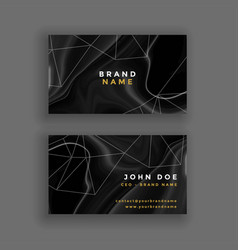 Abstract dark marble texture business card vector