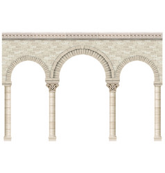 Ancient arcade stone columns castle wall vector