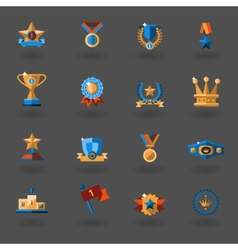 Award flat icons set vector image
