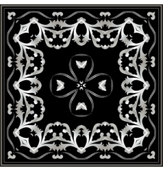 Bandana with silver pattern on a black background vector