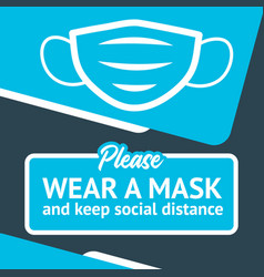 banner wear a mask and keep social distance vector image