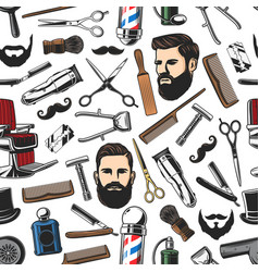Barbershop shave and man haircut seamless pattern vector