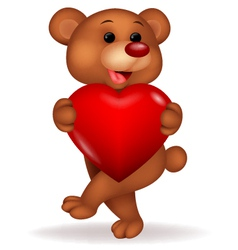 Bear cartoon with love heart vector image