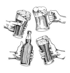Beer glass mug or bottle of oktoberfest engraved vector