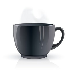 Black hot teacup vector