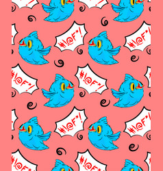 blue bird and swearing words seamless pattern vector image