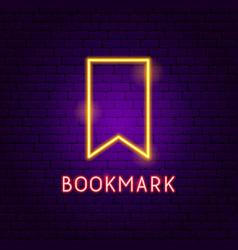 Bookmark neon label vector