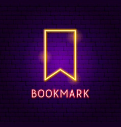 bookmark neon label vector image