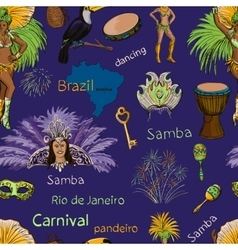 Brazilian carnival seamlees pattern vector