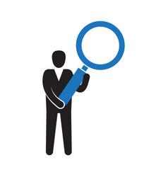 businessman holding magnifying glass vector image