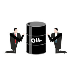 businessman praying for oil prayer barrel of vector image