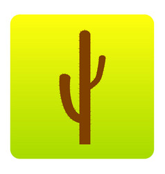 Cactus simple sign brown icon at green vector