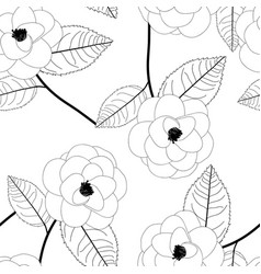 Camellia flower on white background vector