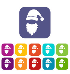 Cap with pompon of santa claus and beard icons set vector