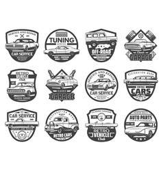 car auto service isolated icons set vector image