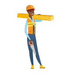 Carpenter holding saw and wooden board vector