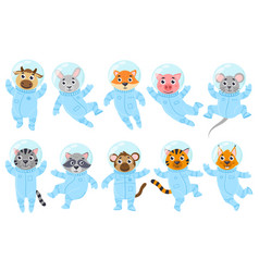 Cartoon cute animals pig mouse and cat vector