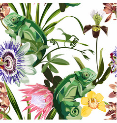 chameleon tropical plant and flowers pattern vector image