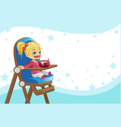 Child eating in high chair vector