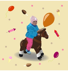 Child on a horse vector