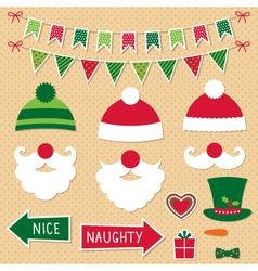 Christmas Santa Claus and decoration set vector image