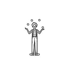 Clown having juggle skills hand drawn sketch icon vector
