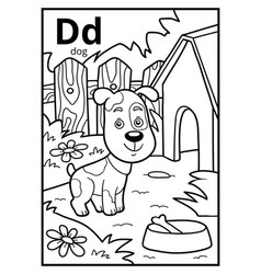Coloring book colorless alphabet letter d dog vector