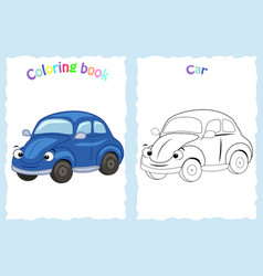 coloring book page for children with colorful ca vector image