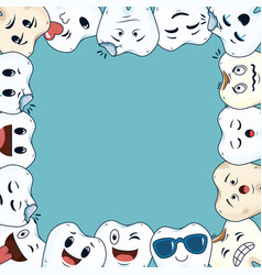 comic teeth frame kawaii characters vector image