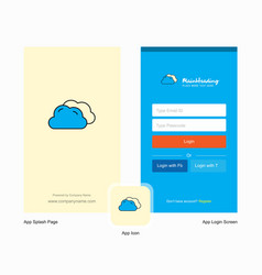 company clouds splash screen and login page vector image