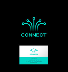connect logo web ui icon technology internet vector image