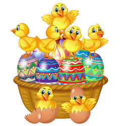 Cute chicks standing on decorated egg vector