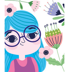 Cute girl glasses cartoon with flowers botany vector
