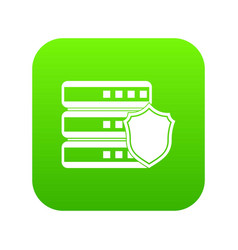 database with gray shield icon digital green vector image