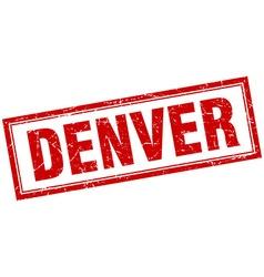 Denver red square grunge stamp on white vector