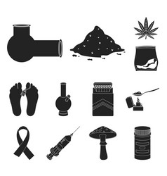Drug addiction and attributes black icons in set vector