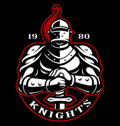 emblem of knight with sword vector image