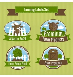 Farming harvesting and agriculture badges vector image