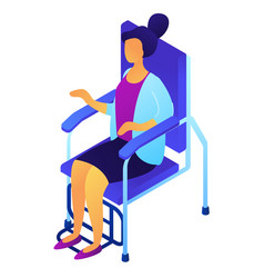 female patient in dentist chair isometric 3d vector image